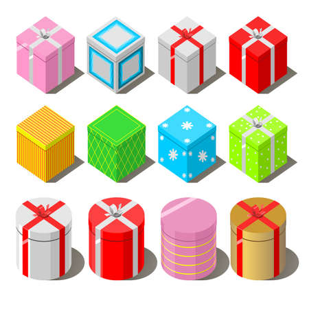 Set of different souvenir and gift boxes on a white background. Illustration