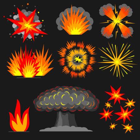 gunpowder: Set of various cartoon explosions, fire outbreaks reactions.