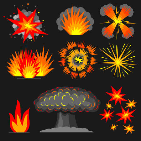 Set of various cartoon explosions, fire outbreaks reactions.