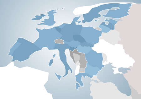 southern european: Map of European Union with a focus on the southern part. Illustration