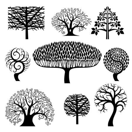 Set of different stylized silhouettes of trees on a white background.