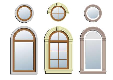 Three arched windows. A set of three and three circular arch classical window.