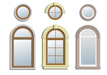 arched: Three arched windows. A set of three and three circular arch classical window.