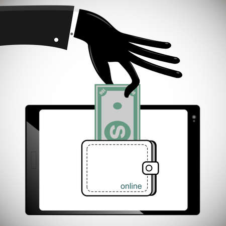 Hand in black glove steal money from the tablet PC from the account Illustration
