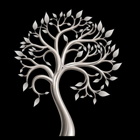 platinum: Wood molded from a metal silver or platinum leaf wrought Illustration