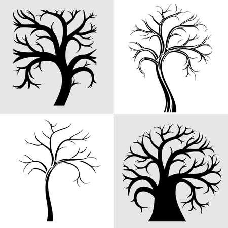 Satz von Silhouetten von vier stilisierten Baum