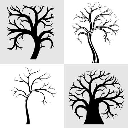 Set of silhouettes of four stylized tree
