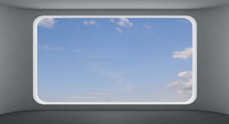 picture window: Large picture window in the interior with flowing forms and views of the sky.