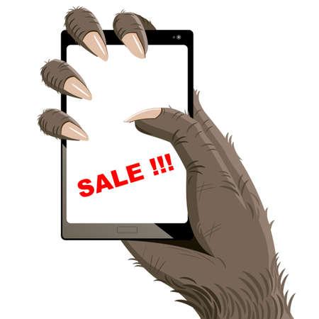wilkołak: goryl ręka, która trzyma smartfon w szponach. Ilustracja