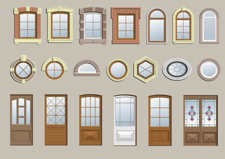 A set of different classical windows and doors.