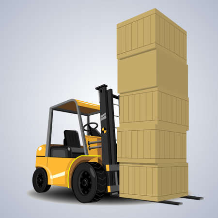to unload: Yellow forklift trucks with a lot of boxes and boxes