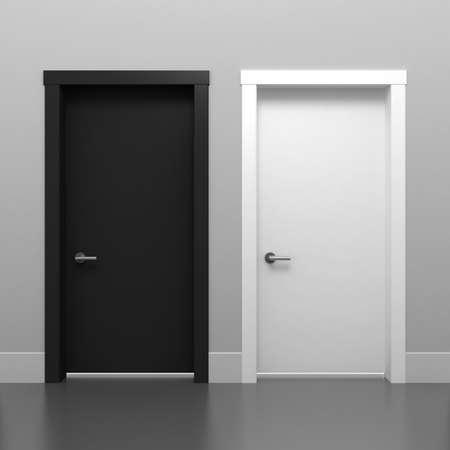 3d illustration of Door black and white Imagens - 51326332