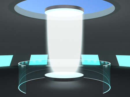 photons: The interior of the science lab with a luminous human teleportation portal. Stock Photo