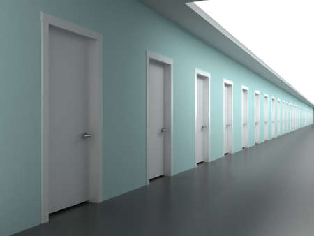 featureless: Corridor in a building with the prospect of endless offices
