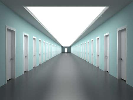 Corridoio in un edificio con la prospettiva di infiniti uffici Archivio Fotografico