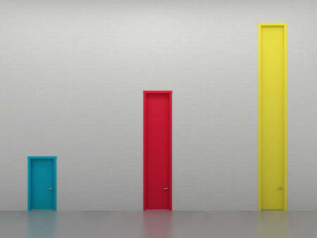 moldings: Three multi-colored door entrances at different levels, growth chart.