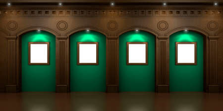 moldings: Four arched niches in the dark interior with hidden illumination Stock Photo