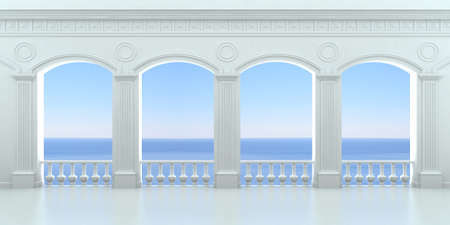 pilasters: White arcade with a balustrade overlooking the ocean