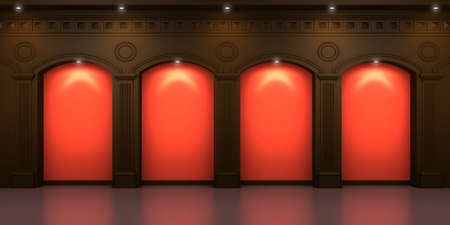 pilasters: Four arched niches in the dark interior with hidden illumination Stock Photo