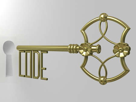 golden key: Jewelry golden key with ornaments close up 3d render
