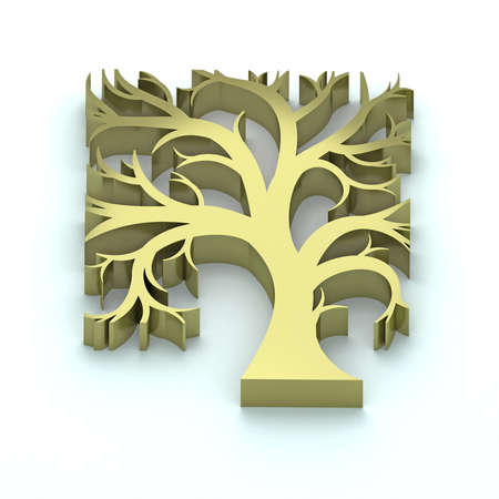 extrusion: Volume silhouette stylized artistic wood badge gold