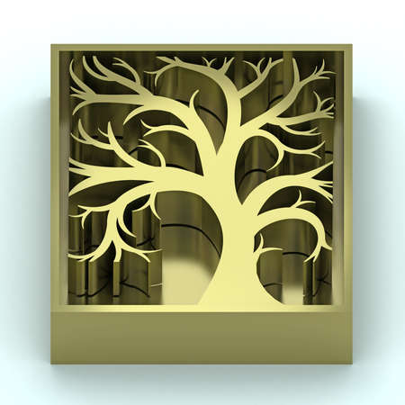 voluminous: Volume silhouette stylized artistic wood badge gold