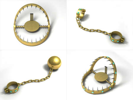 shackles: Golden Traps and shackles, fetters with diamonds. Stock Photo