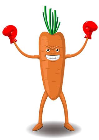 zanahoria caricatura: ganador de zanahoria ilustraci�n de dibujos animados en guantes de boxeo Vectores