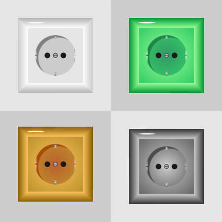 product range: Electrical outlets in different colors on the wall