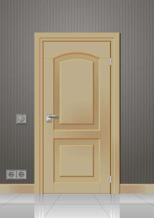chipboard: Door in the wall of the room with a frame and handle