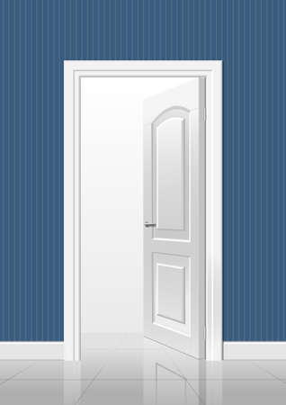 input output: White open door in a blue room interior Illustration