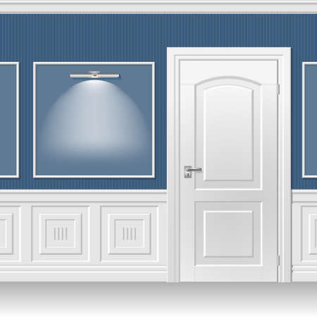 bevel: White door in the classic interior trimmed with wood paneling