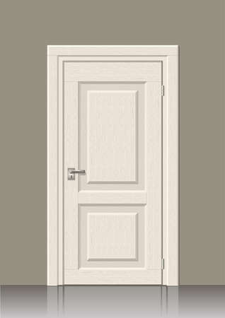 chipboard: Wooden door in graphics on the wall in the interior of the room Illustration