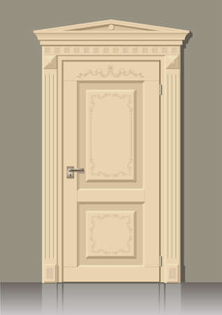 moldings: Wooden door in graphics on the wall in the interior of the room Illustration