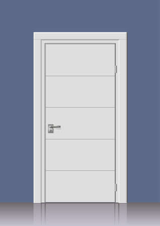 input output: Wooden door in graphics on the wall in the interior of the room Illustration