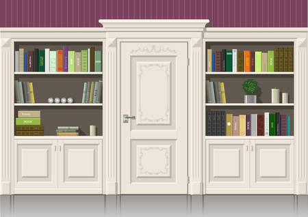 living room wall: Classic wall panels and a bookcase in an interior room, graphics
