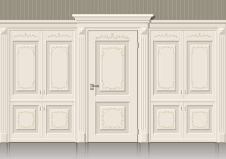 input output: Classic wall panels and doors in the interior of the room, graphics