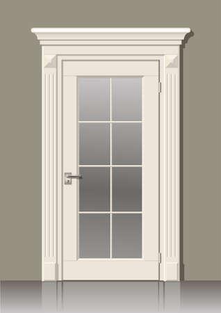 Porte en bois dans des graphiques vectoriels sur le mur à l'intérieur de la chambre