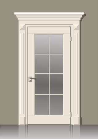 chipboard: Wooden door in vector graphics on the wall in the interior of the room
