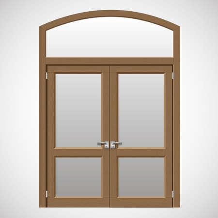 balcony door: Double doors open onto a terrace or balcony in graphics Illustration
