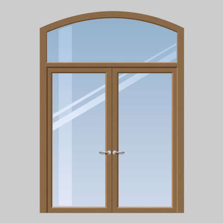 input output: Double doors open onto a terrace or balcony in graphics Illustration