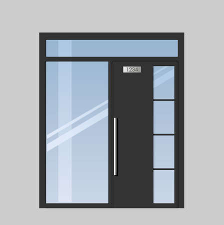 chipboard: Double doors open onto a terrace or balcony in graphics Illustration