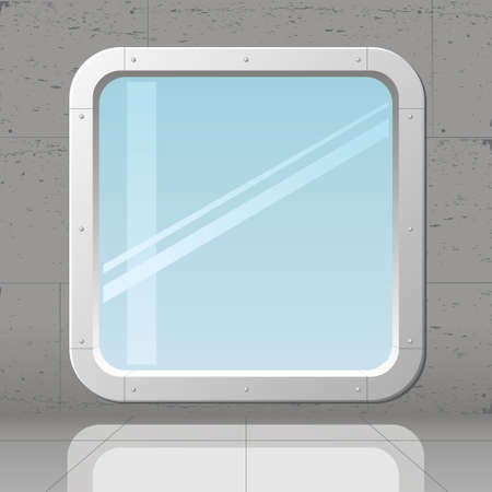 big window: Futuristic big window in concrete monolithic wall