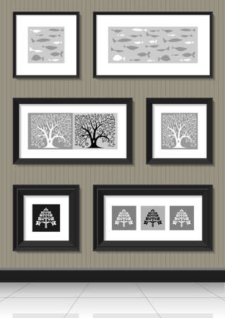 art deco border: Other paintings in black frames on the wall with silhouettes of trees and fish Illustration