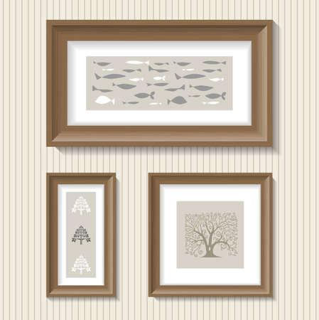 broad: Paintings in the broad frames of brown oak