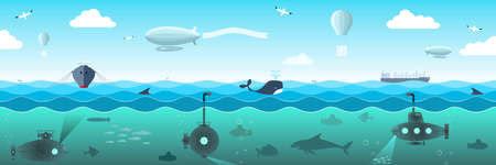 barracuda: Open sea view from the submarines, fish, ships, airships