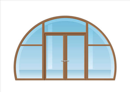 on the balcony: Double doors open onto a terrace or balcony in graphics Illustration