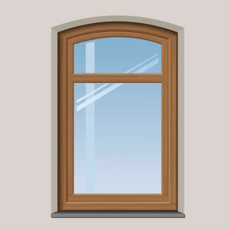 window bars: Arched wooden window with muntin bars in  graphics