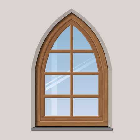 wooden window: Arched wooden window with muntin bars in graphics Illustration