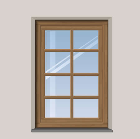 niche: Arched wooden window with muntin bars in graphics Illustration